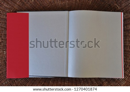 Blank book pages paper background and dust jacket flaps with place for your text. Design element. Royalty-Free Stock Photo #1270401874
