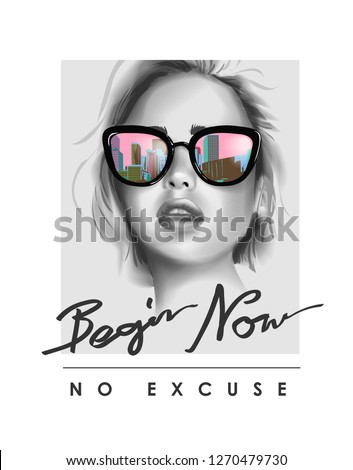 typography slogan with b/w girl in sunglasses illustration Royalty-Free Stock Photo #1270479730