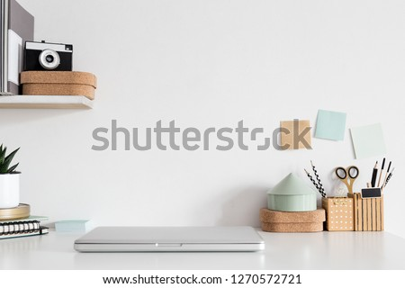 Workspace computer and office supplies on office workplace. Royalty-Free Stock Photo #1270572721