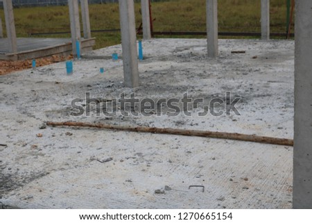 Construction of houses and pillars and concrete #1270665154
