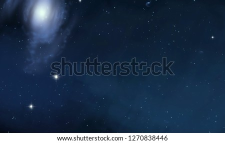 2d illustration. Deep vast space. Stars, planets and moons. Various science fiction creative backdrops. Space art. Alien solar systems. Realistic background cosmos. #1270838446