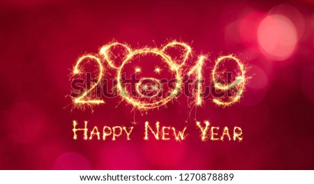 Greeting card Happy New Year 2019. Beautiful creative holiday web banner with head of pig, symbol of 2019 in the Chinese calendar. Sparkling text Happy New Year 2019 on red background