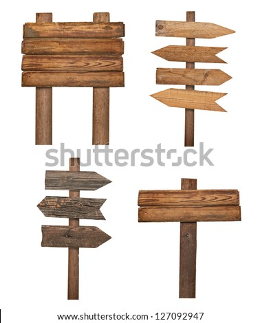 collection of various  empty wooden sign on white background. each one is shot separately #127092947