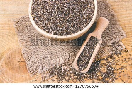 Chia seeds - a dietary supplement containing a large amount of fiber, omega-3 fatty acids and unsaturated fats. #1270956694