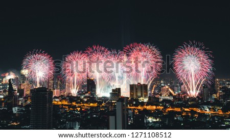 Bangkok, Thailand - Jan 1, 2019: Beautiful fireworks on Happy New Year 2019 celebration event by Chaophraya river in Bangkok city #1271108512