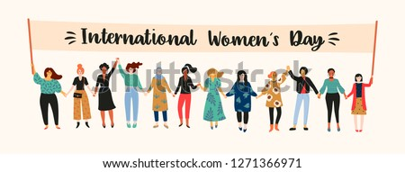 International Womens Day. Vector illustration with women different nationalities and cultures. Struggle for freedom, independence, equality. Royalty-Free Stock Photo #1271366971