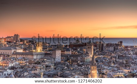Genova, Italy: Beautiful sunset aerial panoramic view of Genoa historic centre old town (San Lorenzo Cathedral, duomo, Palazzo Ducale), sea and port at dusk. Romantic cityscape Europe at night Royalty-Free Stock Photo #1271406202