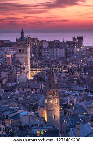 Genova, Italy: Beautiful sunset aerial panoramic view of Genoa historic centre old town (San Lorenzo Cathedral, duomo, Palazzo Ducale), sea and port at dusk. Romantic cityscape Europe at night Royalty-Free Stock Photo #1271406208