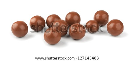 Chocolate balls on a white background Royalty-Free Stock Photo #127145483