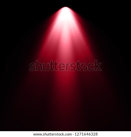 Isolated red spotlight effect on black background. Light show. Light from the top clipart. #1271646328