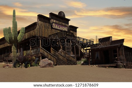 Wild West Cowboy Town at sunset  #1271878609