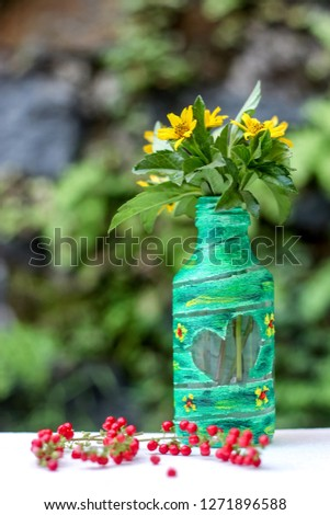 DIY Recycled Water Bottle Crafting Idea  for a Flower Vase  #1271896588