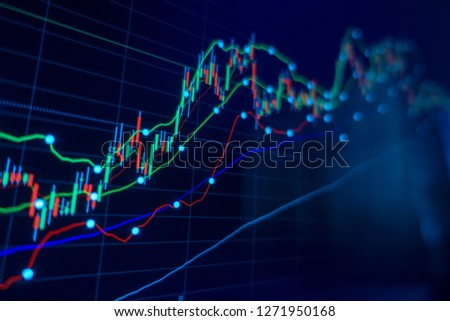Stock market trading graph and candlestick chart for financial investment concept. Abstract finance background. Royalty-Free Stock Photo #1271950168