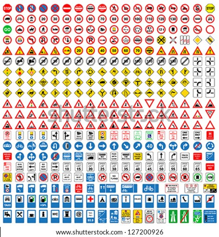 Over three hundred fifty different highly detailed and fully editable vector Traffic-Road Sign Collection. Royalty-Free Stock Photo #127200926