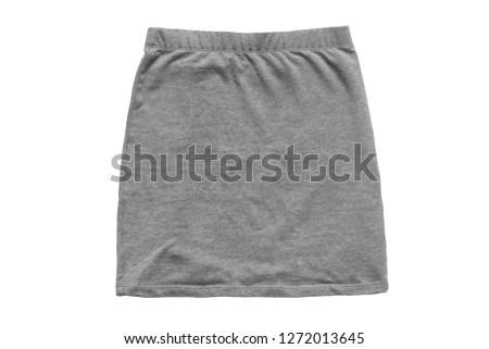 Grey basic cotton mini skirt isolated over white #1272013645