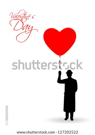 A man with an umbrella in the shape of a heart. Vector. #127202522