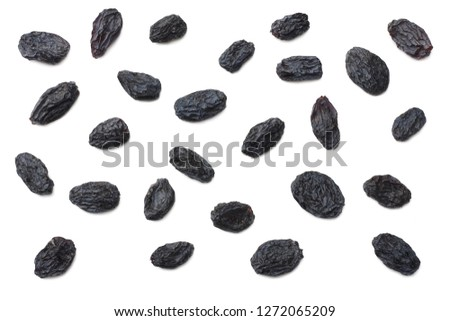 black raisins isolated on white background. top view #1272065209
