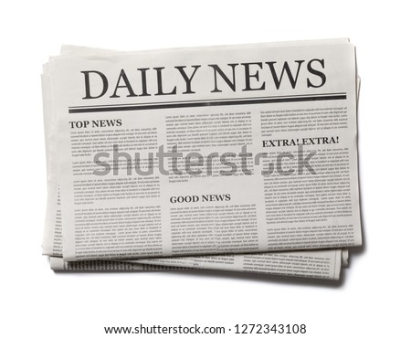 Business Newspaper isolated on white background, Daily Newspaper mock-up concept Royalty-Free Stock Photo #1272343108