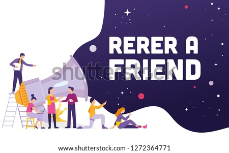Big megaphone with Refer a friend word concept, a team work standing and sitting with big megaphone behind and shout Refer a Friend, Refer a friend concept media for landing page, template, ui, web, #1272364771