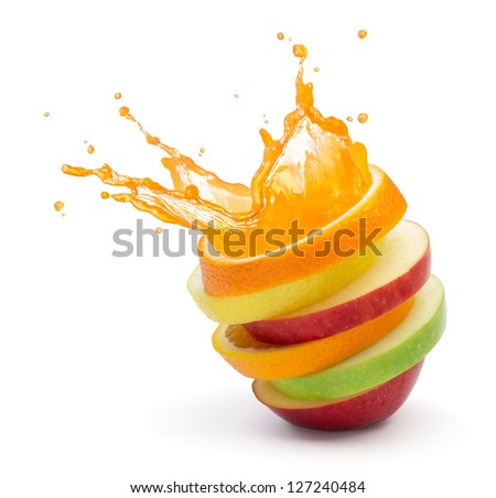 various type of fruit slices stacked with splash, fruit punch concept Royalty-Free Stock Photo #127240484