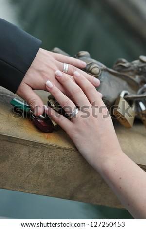 Wedding, Bride and Groom holding hands #127250453
