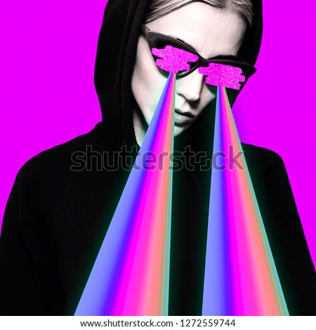 Fashion hipster girl with rainbow lasers from eyes.  Minimal collage art #1272559744