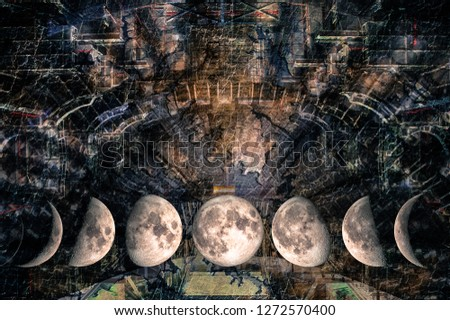 Phases of the Moon at the background of futuristic design in the form of a space design structure in galaxy. The elements of this image furnished by NASA. #1272570400