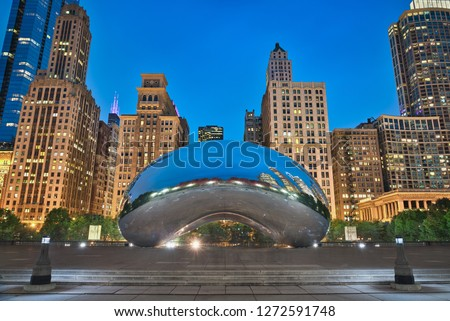 Photo of the Millenium Park at the blue hour time #1272591748