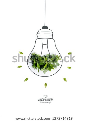 Energy saving eco lamp, made with green sprout and leaves,isolated on white background. LED lamp with green leaf. Minimal nature concept.Think Green.Ecology Concept. Environmentally friendly planet.  #1272714919
