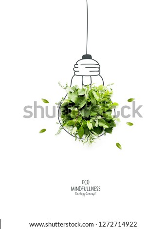 Energy saving eco lamp, made with green sprout and leaves,isolated on white background. LED lamp with green leaf. Minimal nature concept.Think Green.Ecology Concept. Environmentally friendly planet.  #1272714922