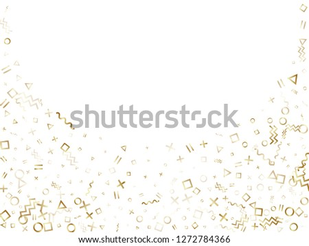 Memphis style gold geometric confetti vector background with triangle, circle, square shapes, zigzag and wavy line ribbons. Glowing 90s style memphis gold yellow decor confetti flying on white. #1272784366