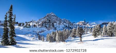 downhill skiing in Utah, USA Royalty-Free Stock Photo #1272902728
