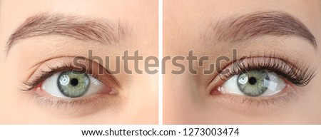 Young woman before and after eyelash extension procedure, closeup Royalty-Free Stock Photo #1273003474
