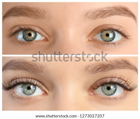 Young woman before and after eyelash extension procedure, closeup Royalty-Free Stock Photo #1273027207