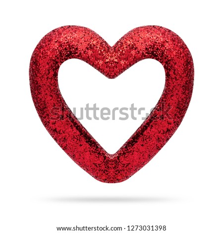 Red heart frame isolated on white background. Valentine heart. ( Clipping path )