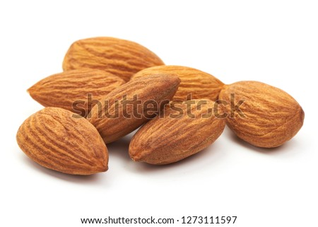 Almond. Almond nuts, close-up isolated on a white background. #1273111597
