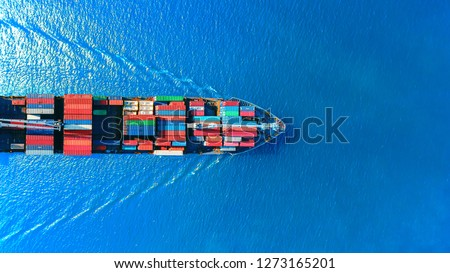 Aerial top view container ship full load container for logistics import export, shipping or transportation concept background. #1273165201