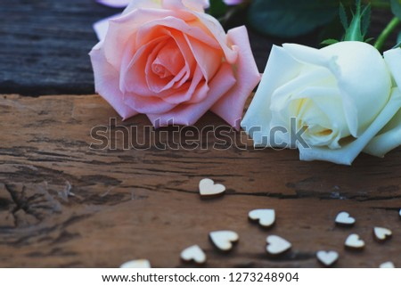 Beautiful white and pink fresh rose flower and mini heart on wooden background, soft tone valentine concept, copy space #1273248904