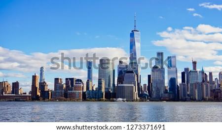 beautiful view of lower manhattan cityscape across hudson river new york usa