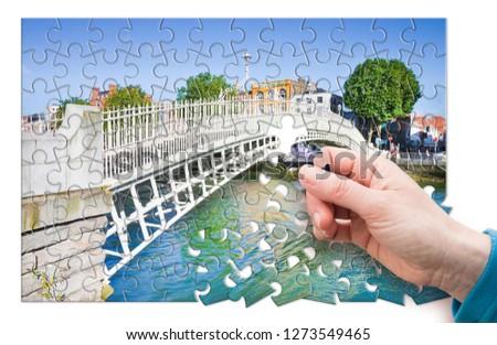 "The most famous bridge in Dublin called ""Half penny bridge"" - concept in puzzle shape #1273549465"