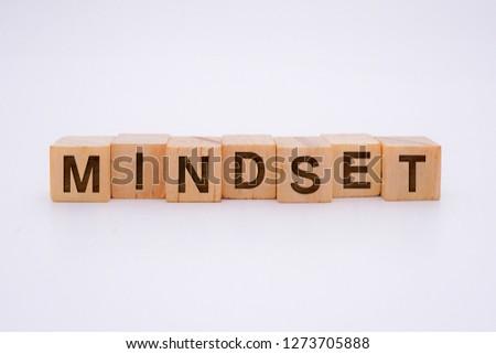 Mindset Word Written In Wooden Cube #1273705888