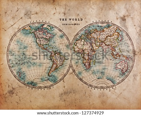 A genuine old stained World map dated from the mid 1800's showing Western and Eastern Hemispheres with hand colouring. Royalty-Free Stock Photo #127374929