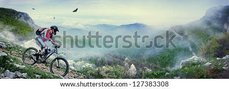 Cyclist in the mountains Royalty-Free Stock Photo #127383308