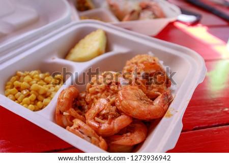 Garlic shrimps at North shore Oahu - Image Royalty-Free Stock Photo #1273936942