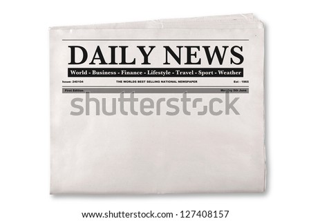 Mock up of a blank Daily Newspaper with empty space to add your own news or headline text and pictures. Royalty-Free Stock Photo #127408157