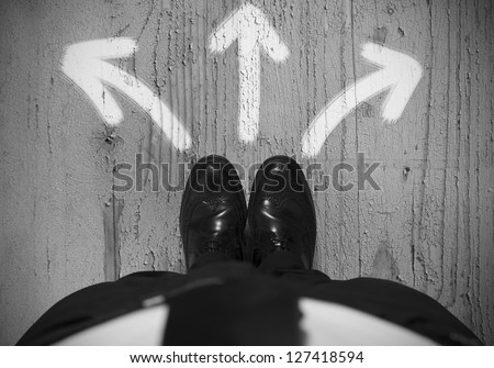 Concept of choices of a businessman