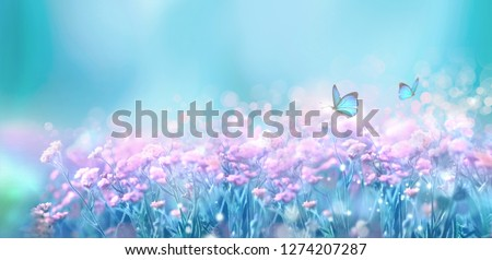 Floral spring natural landscape with wild pink lilac flowers on meadow and fluttering butterflies on blue sky background. Dreamy gentle air artistic image. Soft focus, author processing. #1274207287