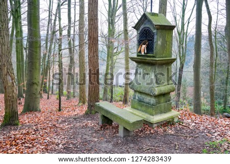 Typical old Christian wayside shrine at a country little forest in Belgium.  #1274283439