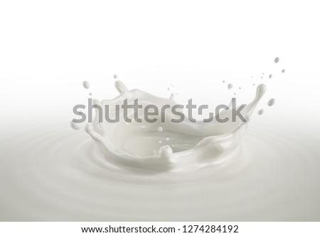 Fresh Milk crown splash in milk pool. Bird eye view, isolated on white background. #1274284192