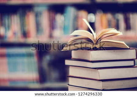 Book in library with open textbook,education learning concept #1274296330